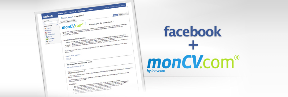 mycv facebook application - autre plan u00e8te