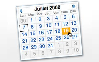 YUI Calendar in French
